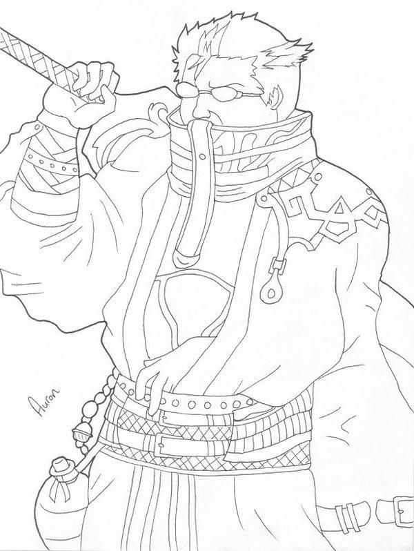 auron line art by zelosgirl120