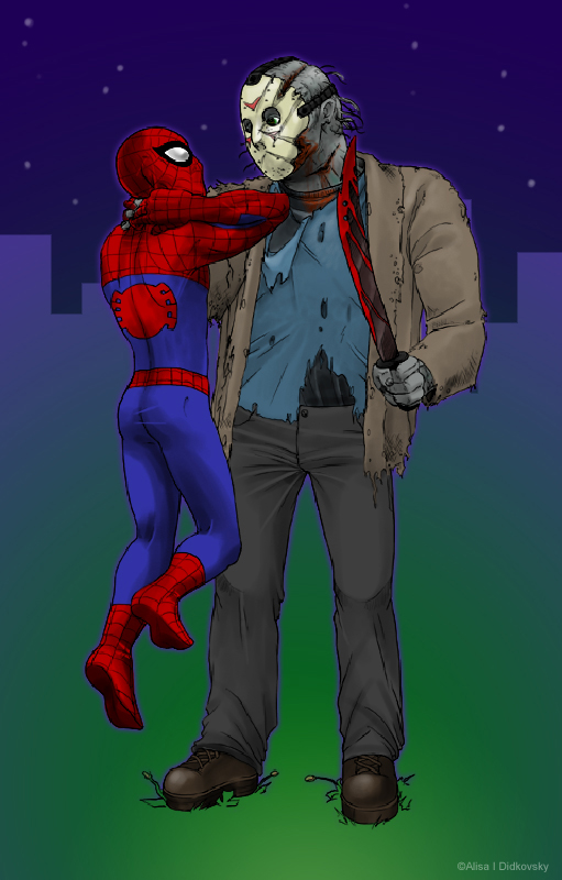 Jay vs Spidey -color by zooni